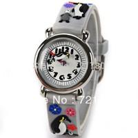 Wholesale Cute Penguin Pattern Cartoon Watch for Children Gray Rubber Watchband Round Dial Mini Shape Children Watches