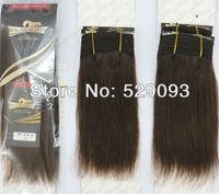 Wennie's 2# Dark Brown Original Human Hair Weave Extension 8''10''12'' 300g-400g Straight African American Style Free Shipping