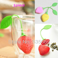 5 Piece/Lot Brand New Strawberries Tea Bags Strainers Silicone Teaspoon Filter Infuser Silica Gel Filtration