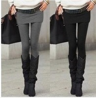 Hot Selling Grey Black False Two-piece Legging Pantskirt Women's Fashion Leggings With Mini Skirts Slim Fit