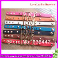 Hot sale 10pieces/lot gold love word leather bracelets for boyfriend girlfriend pink green wrap european leather bracelets