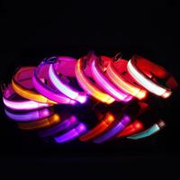Safety Pet LED Dog Collar Night Flashing Glow Light Pink Nylon Collar S M L XL Free Shipping and Drop Shipping