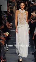Free Shipping Women's Newest Fashion Bohemian Style Embroidery Lace Round Neck Sleeveless Long Maxi Dress Ladies' Evening Dress