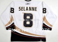 2000-01 Teemu Selanne Ice Hockey Anaheim Mighty Ducks Game #8 Jersey - Customized Any Number & Name Sewn On (XXL-6XL)
