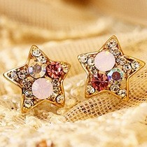 Free Shipping $10 (mix order) New Fashion Vintage Retro Colorful Rhinestone Stars Lovely Earrings E600 Jewelry(China (Mainland))
