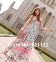 Free Shipping Women's Classic Fashion Bohemian Style Flower Print Spaghetti Strap Backless Layered Chiffon Long Maxi Dress