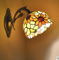 Fashion rustic wall lamp mirror lighting balcony lamps multicolour glass tiffany sunflower free shipping