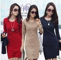 2013 Autumn And Winter Women'S Long-Sleeve Anti-Wrinkle Ol Basic Skirt Elegant Plus Size Slim One-Piece Dress Female Dress SY01