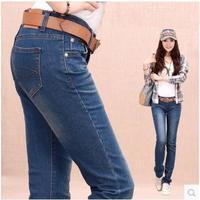 Women's plus size jeans female trousers autumn mm straight pants 2014 elastic pencil pants