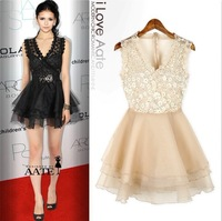 Elegant Women's  V-Neck Sequin Lace Floral Evening Coaktail Party Wrap Mini Dress Apricot Black MINI Sexy Dress