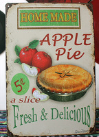 Vintage Tin plate Signs Home made apple pie wall decor House Cafe Shop painting C-45 Free Shipping