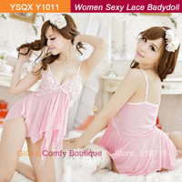 2013 Free Size Pink Mesh Chiffon Short Transparent Spagetti Strap Deep V Neck  Flower Lace On Bra Sexy Women Babydoll (Y1011)