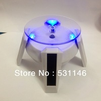 Free shipping Black&White Solar Powered Jewelry Phone Watch Rotating Display Stand Turn Table with LED Light