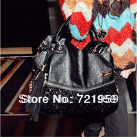 Women's handbag 2013 bag genuine leather tassel bag leopard print paillette bag one shoulder cross-body handbag large bag