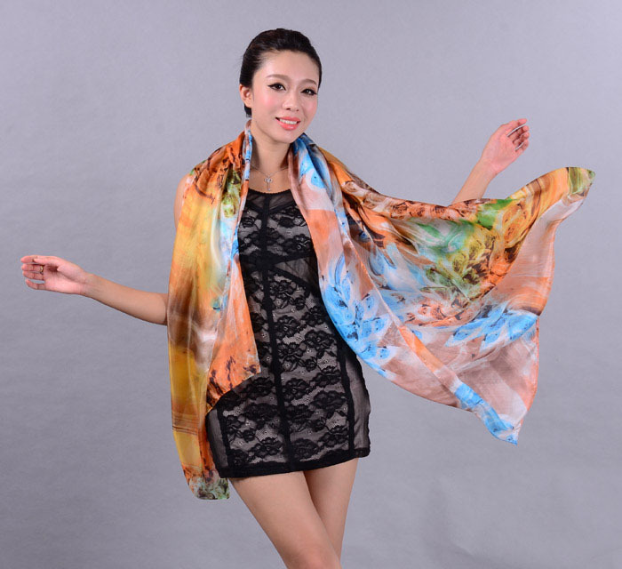 2014 New Design Ultralarge Women's Silk Scarves,Fashion Impressionism Elegant Long Silk Scarf Cape For Spring,Autumn,Winterwj27(China (Mainland))
