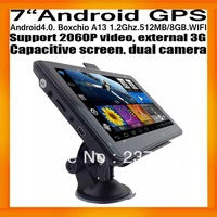 "7""Universal GPS Navigator Android4.0 Capacitive Screen Dual Camera Boxchips A13 512MB/8GB FMT WIFI AV IN 2060P Video External 3G"