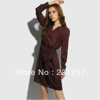 Fashion Women's New Arrival Autumn Burgundy One-piece Dress Long-sleeve Elastic Waist Chiffon Princess Dress M L Free Shipping