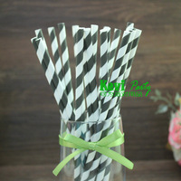 Free shipping! Black striped paper straws,Birthday Party decor paper straws 100pcs/lot