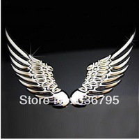 Free Shipping 3D Chrome Metal Angel's Wings decoration Badge Emble Sliver Car Auto stickers