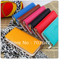 Gorgeous lady fashion leather handbags long style wallet Long section Black zip continental WalletS 5078