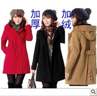 New han edition cowled han edition dress qiu dong outfit with cap bag buckles woollen overcoat woolen cloth coat