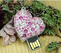 Best selling Jewelry Heart shape USB Drive Flash 1GB 2GB 4GB 8GB 16GB 32GB 64GB Free Shipping