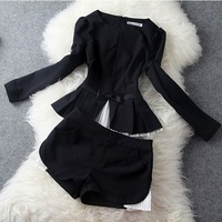 Ladies Black Elegant Brand Long Sleeve Top + Short two pieces Clothing Set,Women Casual Fashion Twinset 2014 New Autumn Winter