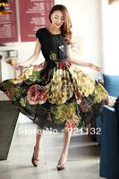 Free Shipping Plus Size Bohemian Style Flower Print Round Neck Short Sleeve Ladies' One-piece Long Chiffon Dress Black/Beige