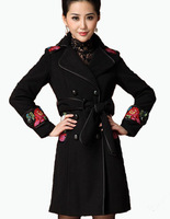 Embroidery Coat Women Wool Outwear 2013 Autumn New Style Female Double Breasted Coats Winter Slim Black Plus Size XXL AW13J028