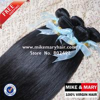 Free Shipping Mike & Mary 5a Malaysian Virgin Hair Weave Straight 4pcs/Lot Unprocessed Virgin Malaysian Hair  Natural 1b
