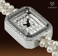 2013 New Luxury Crystal Freshwater Pearl Bracelet Watch For Women Women's Quartz Wristwatch Valentine's Day Gift 2 Color WWL0037