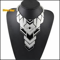 3 New Colors Metal-Plated Fashion Choker Oil-spot glaze Geometry Piece Together Pendant Statement Collar Necklaces Item B86