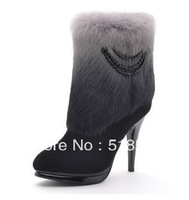 Free shipping 2013 new women's fashion high heels boots genuine gradient rabbit fur boots lady tassel gradual change shoes 35-39