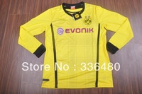 New arrival 13/14 Dortmund home yellow Long sleeve best quality soccer jersey, Dortmund soccer football jerseys