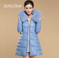 2013 Winter Women'S Genuine sheepskin Leather Down Coat Fox Fur Hoody Femake Slim Medium-long Outerwear VK1274