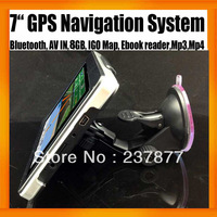 "Freeshipping 7"" Portable MTK GPS Navigation System FMT Bluetooth AV IN 8GB Memory Win CE 6.0 OS Free Map 128MB"