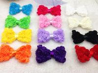 girl Chiffon Rose Bows Rosette Bows Baby Hair Bow shoes clothes bows Headband Accessories mix colors 60pcs/lot DIY Headband