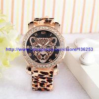 Ladies Rhinestone Leopard Head Quartz Watch Fashion Luxury Geneva Silicone Casual Dress watches Leopard print Band 100pcs/lot