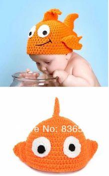cute baby kids girl girls children handmade crochet Photography costume animal goldfish knitted hat hats cap caps for baby kids