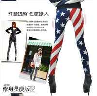 wholesale 2 pieces Fashion USA American Flag Stripe Star Print Tights Legwear pencil pants trousers capris stocking