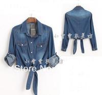 Retail!! 2014 Womens Blouse Shirt Fashion Women Jeans Jacket Long-sleeve Ladies Denim Blouse Shirt /Tops/overshirt.free shipping
