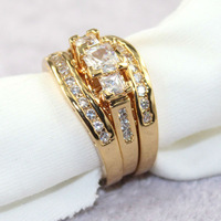 JA-5057,Top quality 18K Gold Plated Ring triple Elegant Jewelry with Full Size Wholesale