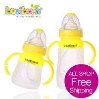 Free shipping Baby straw belt caliber handle antibiotic baby silica gel bottle full newborn