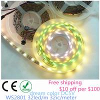 free ship led digital strip light, 25m/lot ws2801 5V 32leds 32ic black pcb non-waterproof 5m 16.4F addressable magic dream color