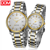 2013 women and men fashion trend Dom ultra-thin vintage rhinestone stainless steel waterproof quartz lovers pair watch