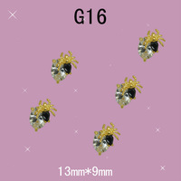 G16 100pcs/lot  13 * 9 mm gold spider punk rock style of Halloween gifts clear zircon nail art decoration