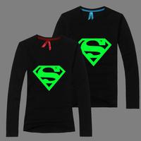 Superman T Shirt Lovers clothes Women's Men's Noctilucent casual O neck long sleeve t-shirts for couples S-XXXL Cotton tees