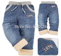 311# Free shipment  plus velvet jeans child berber fleece children's jeans pants retail