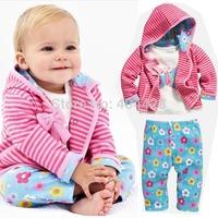 351# Free shipment autumn female child stripe flower bow piece set 1.65kg 5set/lot wholesales