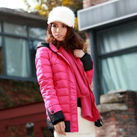 Women's brand winter white new fashion stitching padded hooded down coat,hot sell with high quality wholesale item,free shipping